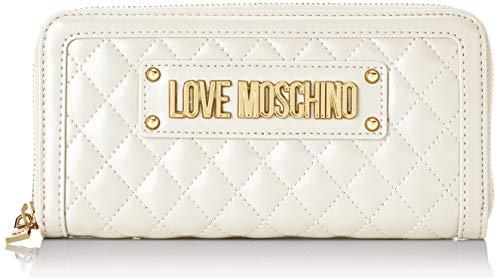 Love Moschino Portafogli Quilted Nappa Pu, Donna, (Avorio), 2x10x19 cm (W x H x L)