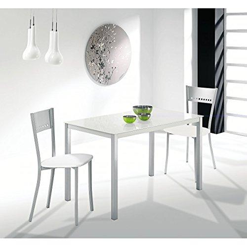 Mesa de cocina 110x75 cm Fija en aluminio y tapa cristal en blanco ...