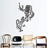 Pbldb Mikrofon Und Musik Noten Vinyl Wandaufkleber Für Kinderzimmer Wanddekoration Diy Tapete Wohnaccessoires Zubehör 37 X 59 Cm