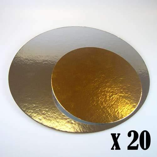 20 x Bases de cartón Plata/Oro 20cm Redondas