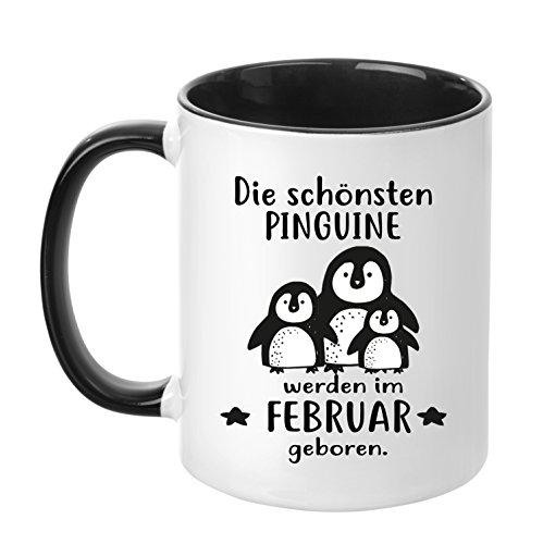 TassenTicker® - ''Die schönsten Pinguine werden im Februar geboren'' -Geburtstags Tasse - hochwertige Qualität - Freundin - Schwester - Mama - Tochter - Nichte - Schatz - Geschenk (Februar) (Pinguin Mama)