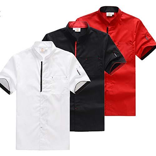 Trim Winter Mantel (Best 4U Unisex Männer Frauen Chef Jacke Weiß Schwarz Rot Mäntel Koch Kleidung Kragen Trim,White,L)