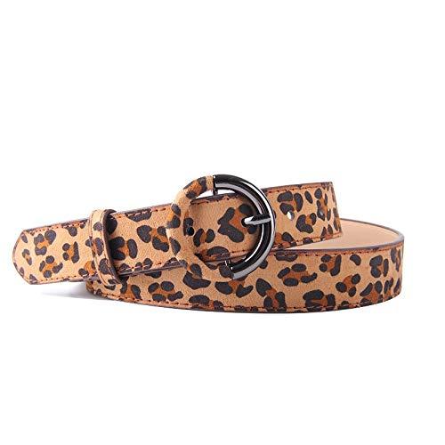 MACUH Home Cinturón de Cuero con Estampado de Leopardo for Mujer Pantalones Vaqueros Cinturón de Cintura for Vestidos Largos 41.3 Pulgadas