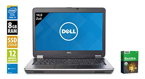 Dell Latitude E6440 | Notebook | Laptop | 14,0 Zoll (1600x900) | Intel Core i5-4210M @ 2,6 GHz | 8GB DDR3 RAM | 250GB SSD | DVD-Brenner | Windows 10 Home (Zertifiziert und Generalüberholt) Dell Laptop Latitude Notebooks