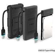 """3-in-1 USB 3.0 to SATA III Carcasa para disco duro 2.5"""" externo - ElecGear Drop+ Shockproof a prueba de choques resistente a los golpes cable del adaptador convertidor Enclosure para HDD SSD Hard Drive with UASP"""