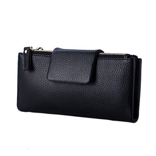 VANCOO Delle donne delle signore borsa Portafoglio grande in vera pelle con il supporto di carta 2321 (Nero)