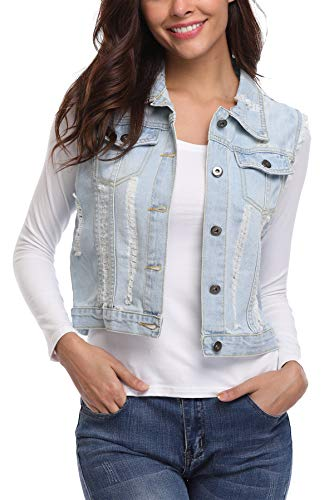 MISS MOLY Damen Jeans Outwear Jeansweste mit Knopfverschluss Kurz Beiläufig Hell Blau - S