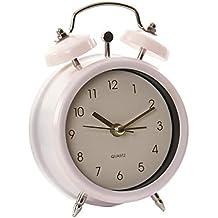 Hogar y Mas Reloj Despertador Analógico de Sobremesa, realizado en Metal. Diseño Vintage/