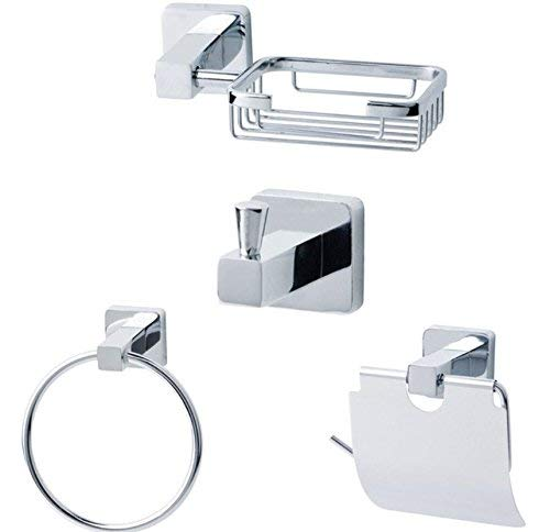 HCZ Zlgbat Badzubehör WC-Bad Highpolish Square Zinkbad Zubehör 4 Stück Set Seifenhalter Robe Haken Handtuchring Papierhalter -