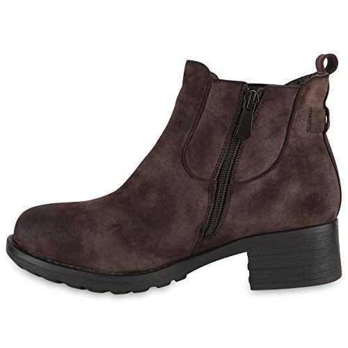 Damen Chelsea Boots Gefütterte Stiefeletten Hochwertige Leder-Optik Schuhe Blockabsatz Profilsohle Booties Damenschuhe Flandell Dunkelbraun Knopf