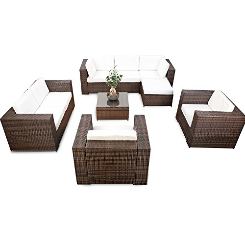 XINRO erweiterbares 26tlg. XXXL Polyrattan Lounge Sofa Eck Set - braun-Mix - Gartenmöbel Sitzgruppe...