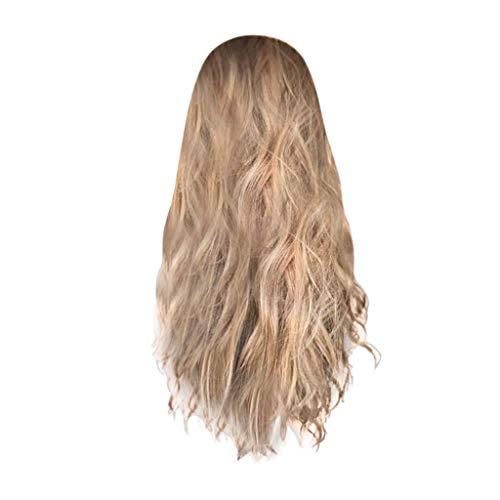 (POTOU Lace Front Perücken Blonde Perücke, 24 Zoll lang gerade Mitte Teil Synthetic Full Perücke Fashion Ash Blonde 2 Tones mit Braun Wurzeln für Damen)