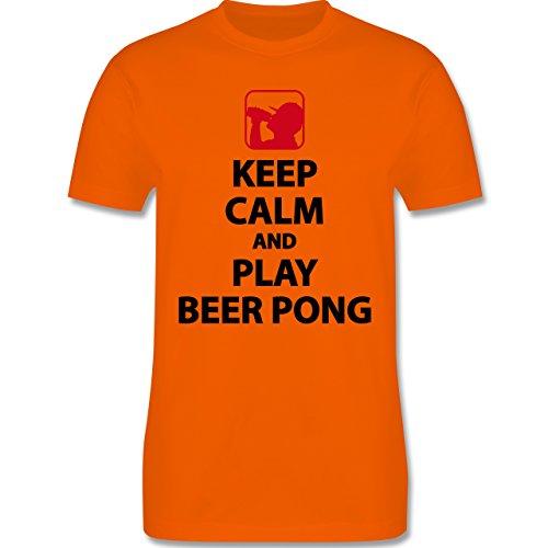 Festival - Keep Calm And Play Beer Pong - Herren Premium T-Shirt Orange