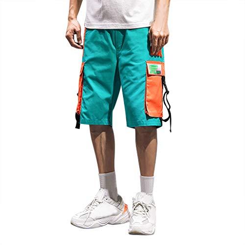 Cargo Shorts Herren Chino Kurze Hose Sommer Bermuda Sport Jogging Training Stretch Shorts Fitness Vintage Regular Qmber,Sportknopf Lose Jogginghose/Blau,M -