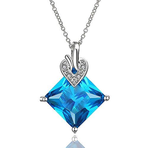 NYKKOLA Oro Catena Placcata platino bella oceano blu cristallo quadrato diamante ciondolo collana