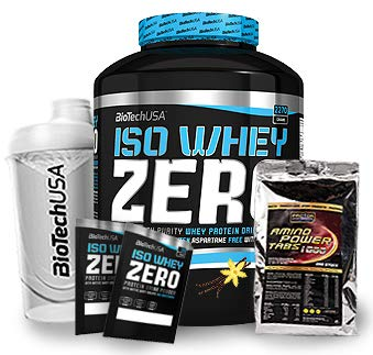 Biotech USA Iso Whey Zero (1 x 2.27 kg) + Shaker + 200 Amino Tabs 1600mg + Proben (Vanille) - Wpi-whey Protein