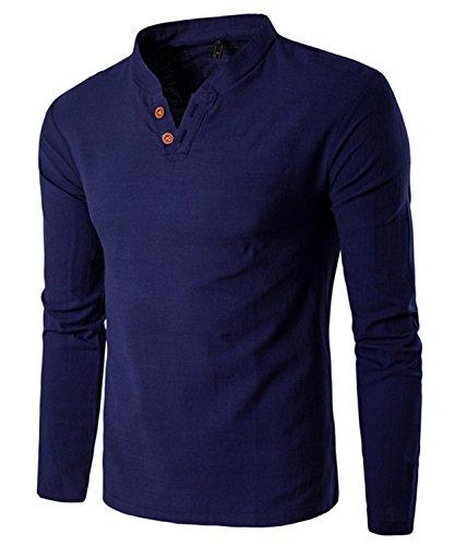 Dalisay Herren Hemden Stehkragen Langarm Leinen Retro Schlank Social Business Bluse Mode Freizeithemden Tops S-5XL (Navy Blau, M)