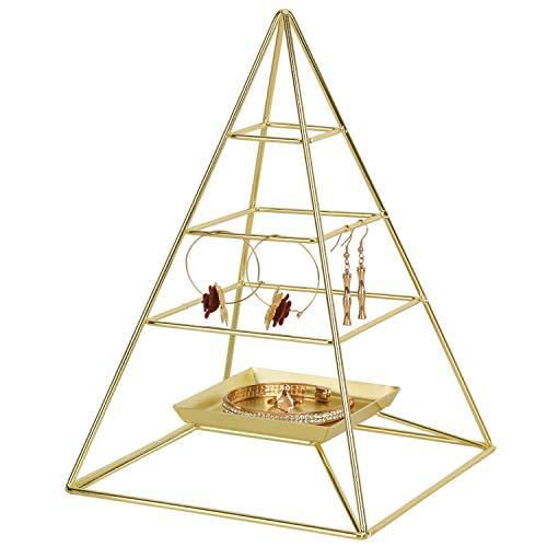 Nugoo Schmuckständer, 3 Ebenen, Pyramidenform, zum Aufhängen, Metall, Schmuckständer, mit Tablett, dekorativer Turm-Halterung, für Ohrringe, Halskette, Armband und Accessoires, goldfarben -