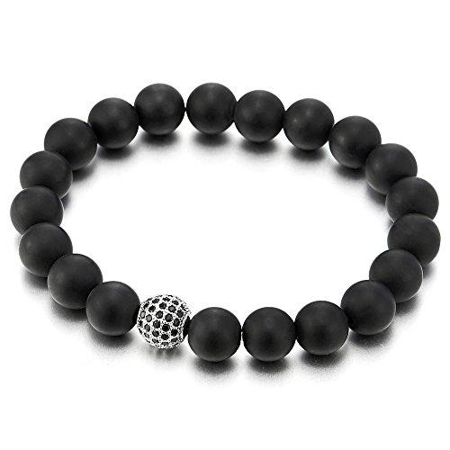 10MM Damen Herren Armband Matt Schwarz Onyx Perlen mit Schwarz Zirkonia Ball Charm, Dehnbare