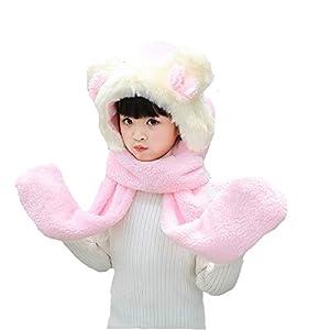 Zyangg-Home Bufanda niños de los niños Suaves Calientes encapuchadas del Invierno de la Bufanda Turbante Cuello con Capucha Caliente del Sombrero de los niños de la Bufanda de Invierno (Color : A) 12
