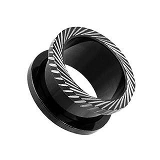 Piercingfaktor Flesh Tunnel Ohr Schraub Ear Plug Piercing Titan Schraubverschluss mit schrägen Rillen Schwarz 10mm