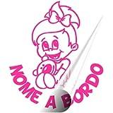 STICKEREDO Bimbo bimba bebè baby a bordo on board adesivo auto. adesivo bimbi a bordo con nome adesivo bebè per auto…
