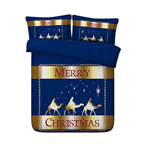Red Green Christmas Tree Bettbezug-Set Weihnachtsmann Tröster Steppdecke Elks Deer 3 Stück Bettwäsche mit 2 Kissen Shams Geschenke für Kinder Jungen (Farbe : Galaxy Duvet, größe : Full/Queen) -