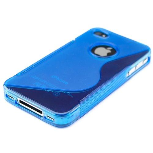 kwmobile Hülle für Apple iPhone 4 / 4S - TPU Silikon Backcover Case Handy Schutzhülle - Cover Schwarz S-Line Blau Transparent