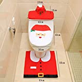 HBSHE 3Pcs/Set Bathroom Christmas Toilet Seat Lid Tank Cover Foot Pad Rug Home Decor