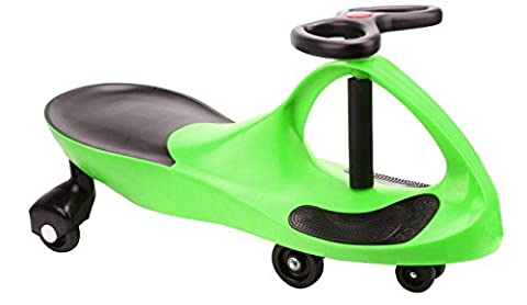 SWING CAR SWIVEL SLIDER KIDS FUN RIDE ON TOY GREEN WIGGLE SCOOTER FOOT MAT NEW