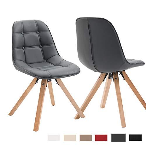 Duhome 2er Set Esszimmerstuhl aus Kunstleder Grau Farbauswahl Retro Design Stuhl mit Rückenlehne Holzbeine WY-466