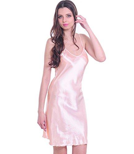 Mujer Satén Chemises Slip lencería Babydoll pijamas corto camisón rosa rosa XL