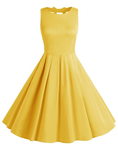 BeryLove Frauen Vintag 50s Polka Dot Bowknot Rockabilly kleid Swing Kleid BLV8001 Yellow XL