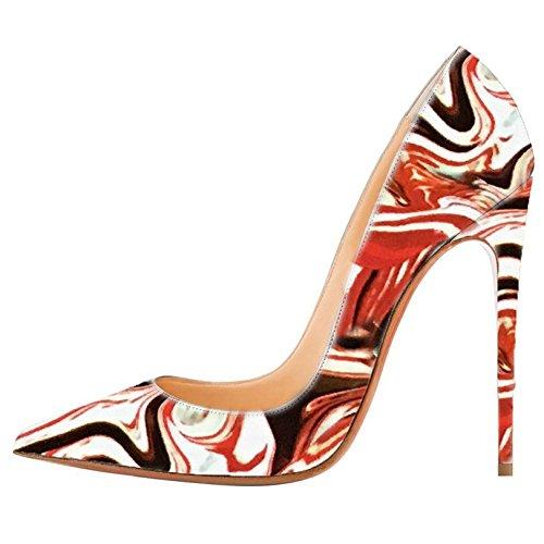 Mermaid-Womens-Shoes-Pointed-Toe-Slip-On-Stiletto-High-Heel-Formal-Pumps-Multicolor-46-Longitud-de-los-pies-295cm