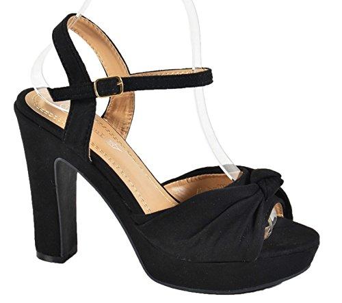 Damen Riemchen Abend Sandaletten High Heels Pumps Slingbacks Velours Peep Toes Party Schuhe Bequem B67 (39, Schwarz BJ16)