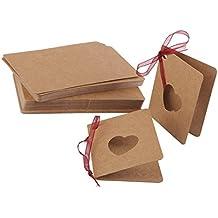 Pixnor Etiquetas de papel de Kraft 50pcs tarjeta etiqueta con cadena para artesanías regalos y etiquetas de precio con el corazón