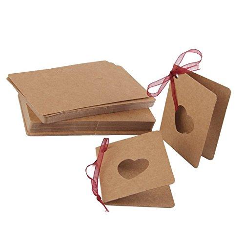 Pixnor Etiquetas de papel de Kraft 50pcs tarjeta etiqueta con cadena para artesanías regalos y etiquetas de precio con el