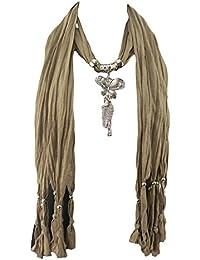 GFM - Bufanda ornamentada para mujer, diferentes diseños, con flecos y joyas, excelente regalo de Navidad