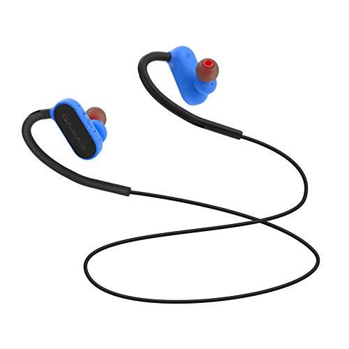 GAOWJ Auriculares con Bluetooth, 4.2 Auriculares magnéticos inalámbricos estéreo en la Oreja, Ajuste Seguro para Deportes, Viajes, Gimnasio (Micrófono de cancelación de Ruido CV 6.0 Incorporado),Blue