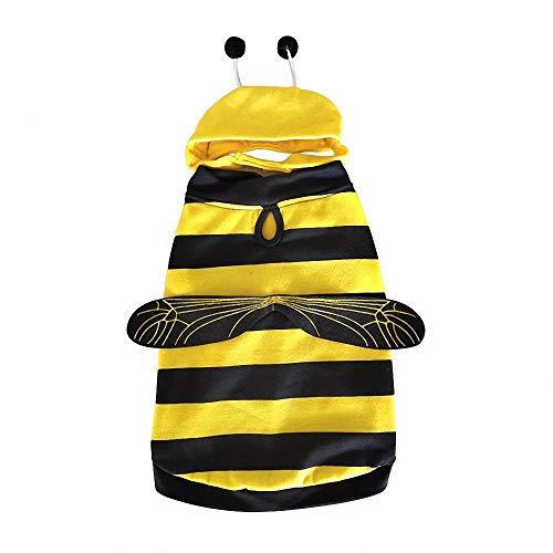 FZ FUTURE Honig, Halloween Haustier Pullover, Halloween Haustier Mantel, Herbst und Winter warm halten, Nettes Cosplay, für Party Weihnachten Special Events Kostüm,S (Honig Biene Kostüm Für Hunde)
