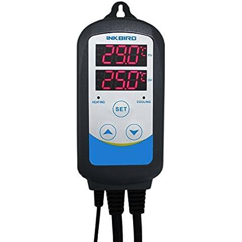 Inkbird ITC-310T Digital Programable Enchufes Calefacción y Refrigeración Temperatura Controlador,Doble Rele Salida & Función de Tiempo(6 Período de Temperatura) Termostato, Kit de Cerveza