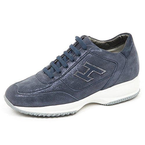 Hogan e4778 sneaker donna blu interactive scarpe h flock shoe woman [40]