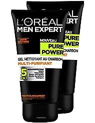 L'Oréal Men Expert Pure Power Gel Nettoyant Homme 5 en 1 Anti-imperfections - Lot de 2x 150ml