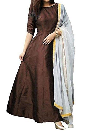 Fragrance Trendz Women's Tapeta Silk Anarkali Gown FANCY Coffee_Free Size
