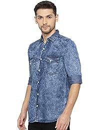 2197428fa58 ... Shirts   Nick   Jess. Nick Jess Men s Slim Fit Casual Blue Denim Shirt  with Double Pocket