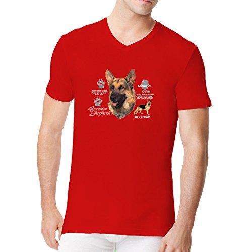 Im-Shirt - Shirt Motiv: Deutscher Schäferhund cooles Fun Men V-Neck - verschiedene Farben Rot