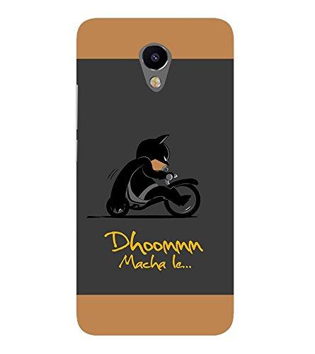 Takkloo Dhoom macha le ( Bat in Black, Super hero on black bike, man wearing black mask, Cartoon, Grey Background) Printed Designer Back Case Cover for Meizu M2  available at amazon for Rs.400