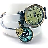 """montre bracelet en cuir blanc,""""Le chaton aux pois"""", montre 3 tours de poignet, montre breloques et cabochon vintage - cadeau noel, cadeau"""