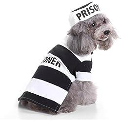 perros accesorios ropa Sannysis mascotas disfraces para perros trajes de Halloween (prisionero, L)