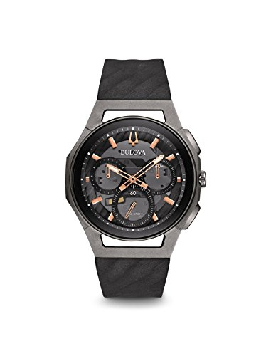 Bulova Curv Chronograph Schwarz und Titan Armbanduhr - Uhr Grau Bulova Herren